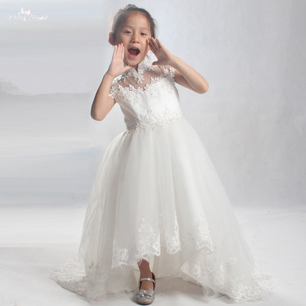 LZC026 White Beading Lace Ball Gowns Short Front Long Back   Flower     Girl     Dresses   Kids Beauty Pageant   Dresses
