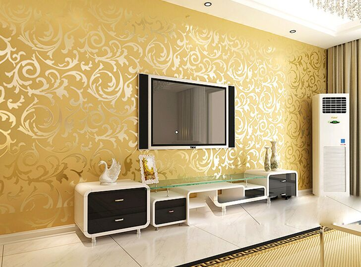 Contracted ou lang Chinese trumpet creeper wallpaper in the living room TV setting wall stickers paper Non-woven 3 d TV wall glorex 3 6 6 686804