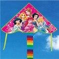 Sólo 9.9 $ de alta calidad cinco princesa niño cometa ripstop nylon kite kite cometa con la línea de mango hello kitty chino venta al por mayor