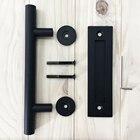 Black Powdered Stainless Steel Square Pull Flush Sliding Barn Door Handle