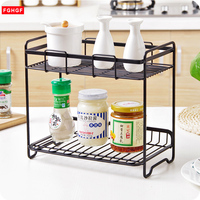 2 Layers Iron Storage Rack Spice Condiment Holder Basket Desk Organizer Kitchen Bathroom Storage Holder Rack Shelf Accessories