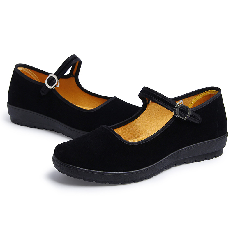 Old Beijing Cloth Women 39 s Work Etiquette Shoes Flat Sole Shallow Mouth Hotel Single Shoes leisure outdoor Sneakers Absorb sweat in Women 39 s Flats from Shoes