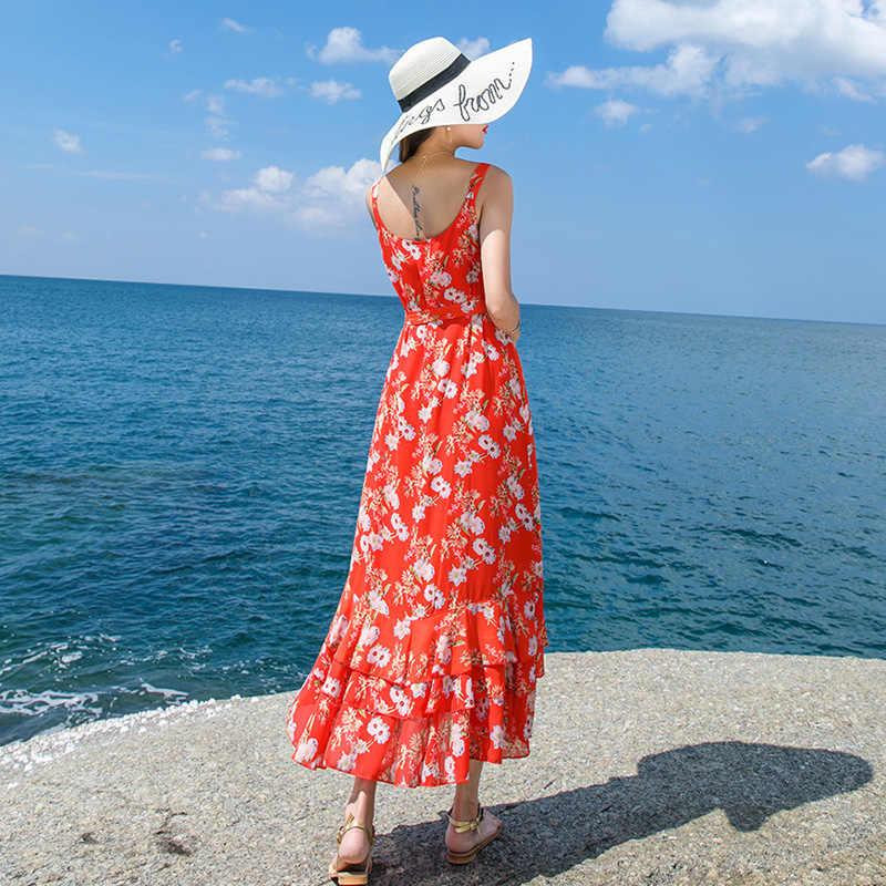 Femmes Sexy Boho sans manches Floral décontracté Long Maxi soirée robe de plage robes d'été v-cou impression robe d'été