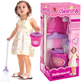 Kids Girls Housekeeping Pink Sweep Educational Toy Fun Cleaning Pretend Play Set Children Assemblage Plastic Toy Gift