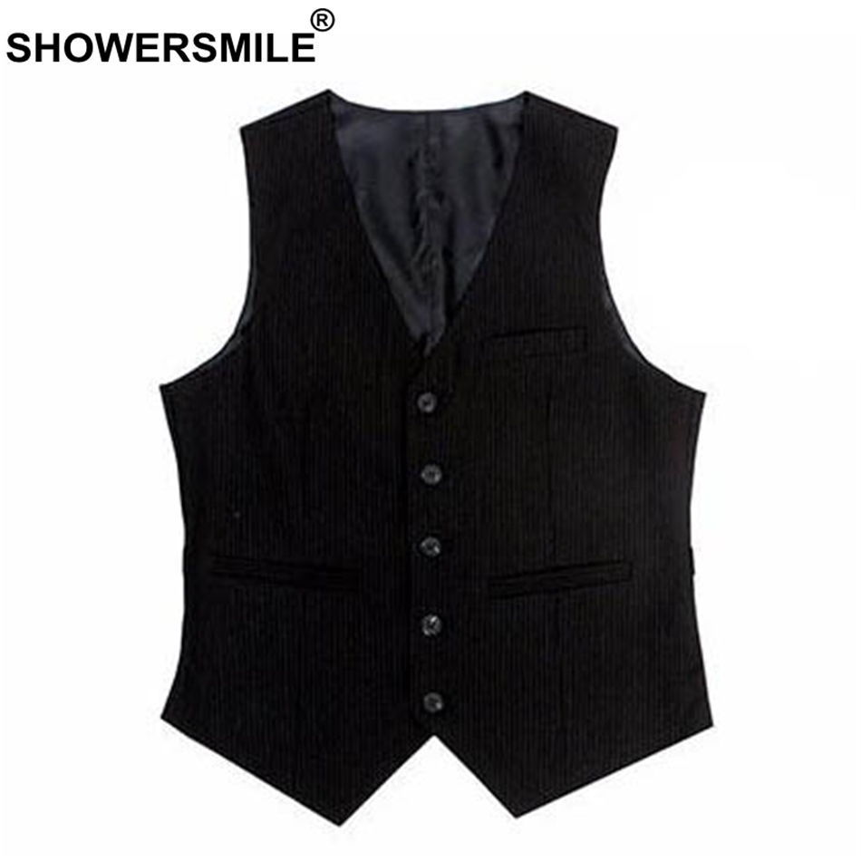 SHOWERSMILE Black Suit Vest Men Cotton Slim Fit Waistcoat Male Classic Gilet Suit Britis ...