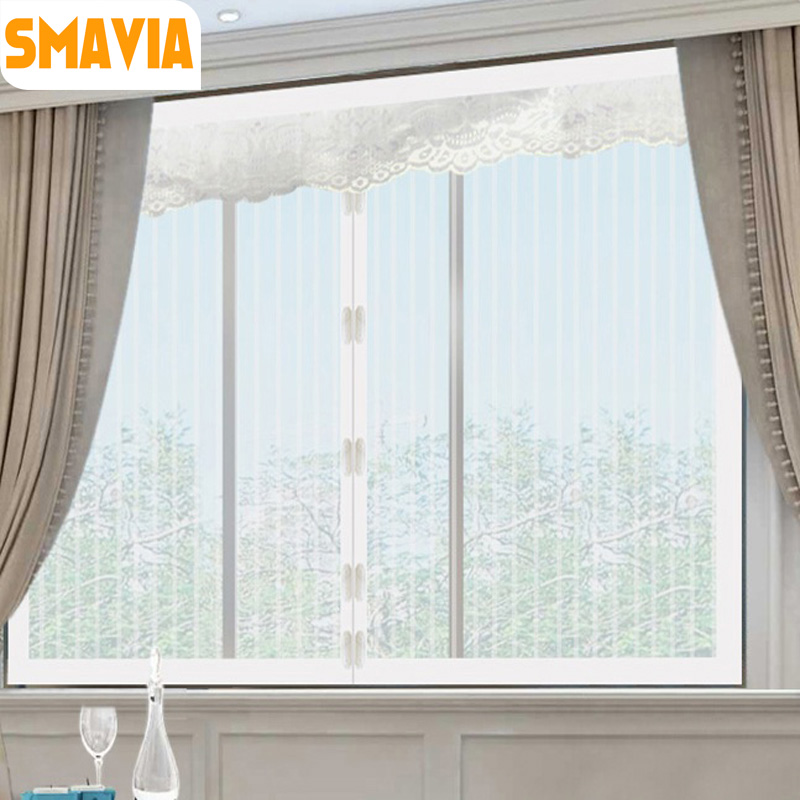 SMAVIA White Stripe Summer Anti-mosquito Net For Window Polyester Fiber Magnetic Stealth Screens Durable Encryption Mosquito Net