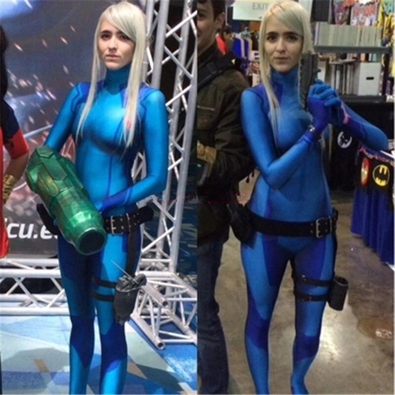Metroid Samus Aran Zero Cosplay Costume Suit Blue Jumpsuit