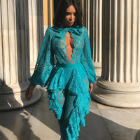 Newest Hot Sale Celebrity Party Women Lace Jumpsuit Long Sleeve O Neck Sexy Night Out Club Jumpsuit Women