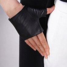 Ultra-thin Genuine Leather Pure Sheepskin Black Semi-Finger Fingerless Ultra Short Womans Gloves Touch Screen Mobile Phone TB07
