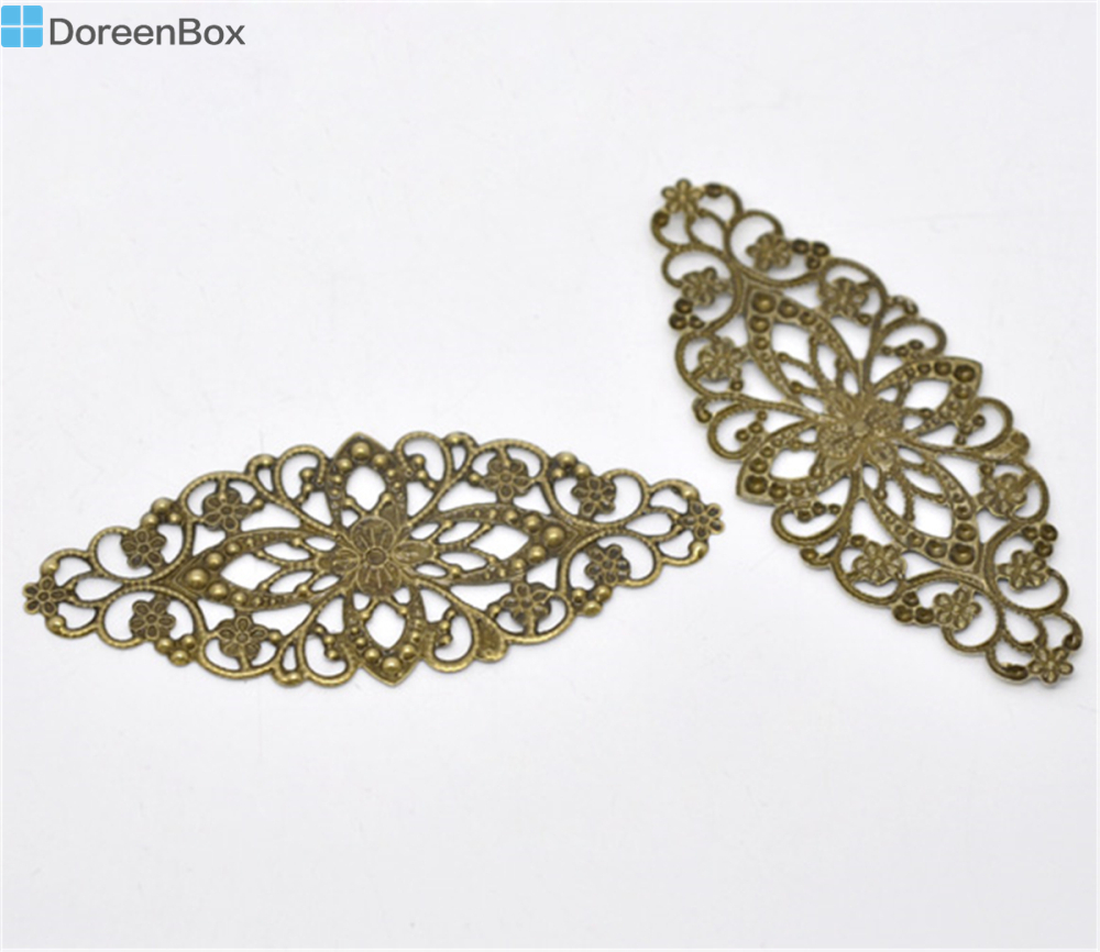 Doreen Box Lovely 30 Bronze Tone Filigree Flower Wraps Connector 8x3.5cm  (B13806)