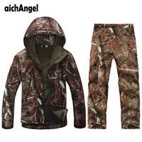 Tactical Gear Softshell Camouflage Suit Men Army Waterproof Warm Military Uniform Windbreaker Fleece Coat Military Clothes Sets