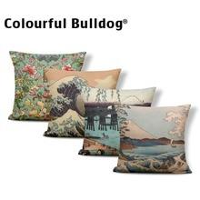 Японское Ретро Наволочка на подушку, Чехол на подушку, крепление Fuji, морской пейзаж, Ukiyoe Hokusai, наволочки на подушку, 18X18, мешковина, разноцветные