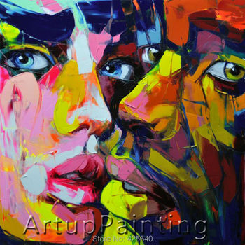 Palette knife painting portrait Palette knife Face Oil painting Impasto figure on canvas Hand painted Francoise Nielly 013