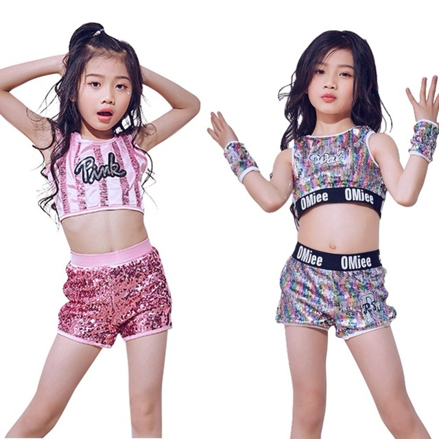 bdc0c76305515 Girls Jazz Performance Costume Hip Hop Pink Sequins Glittery Crop Top +  Shorts Pageant Competition Outfits Age 5-12 Years