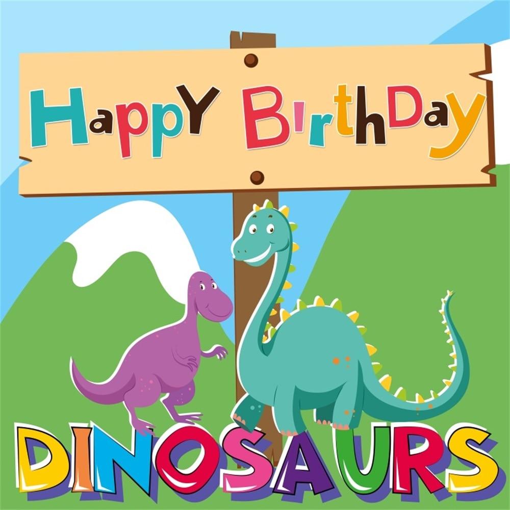 Laeacco Cartoon Dinosaurus Baby Verjaardag Kind Feest Fotografische - Camera en foto - Foto 1