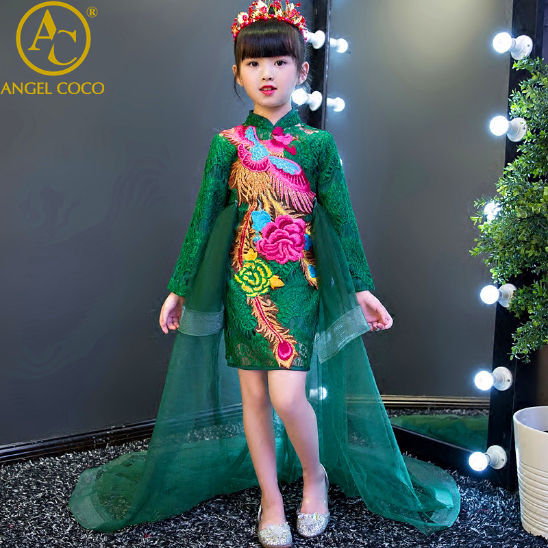 Green Chinese Dress For Girl Embroidery  Flower Girl Cheongsam Clothing Children Evening Dress Robe Princesse Enfant Fille G a three dimensional embroidery of flowers trees and fruits chinese embroidery handmade art design book
