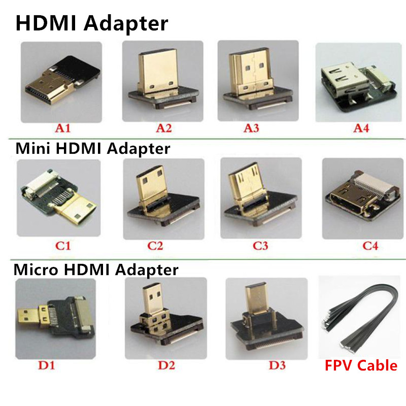 0 2 1M FPV Dual Up Angled 90 Degree HDMI Type A Male to Male HDTV FPC Flat Cable for Multicopter Aerial Photography 10CM 50CM in HDMI Cables from Consumer Electronics