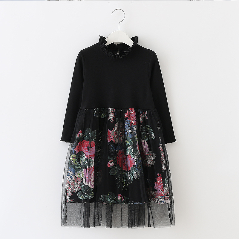Girl Floral Long Sleeved Autumn Winter Wedding Party Dress Mesh Kids Dress Children Clothing For Teenage Age 4-12, Black/ White