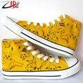 Yjr personagem de banda desenhada Pikachu estudante de Graffiti sapatas de lona de alta Top Lace Up Anime Pokemon pintados à mão sapatos baixos para meninos meninas