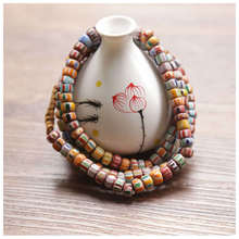 TSB0005 Непальский ручной антиквариат торговля лэмпворк Бусы Красочные баррель САФРОН бусы прядь ожерелье