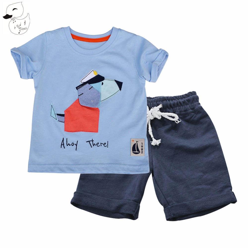 BINIDUCKLING Boys Sets Summer Clothes T shirt+short Pants 100% cotton sports 2017 Baby Boys Sets Dog printed Set Children Suit