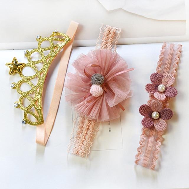 3 Pcs/Lot  Baby Headband Crown Flower Bows Girl Newborn Hair Accessories Elastic Band Turban 2