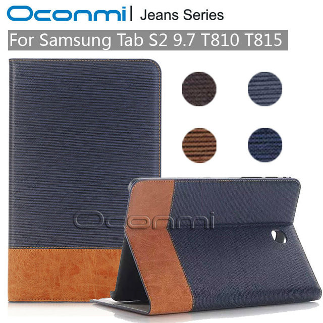 brand new cb0fb 3640b US $13.19 34% OFF|High quality Jeans Wallet leather case for Samsung Galaxy  Tab S2 9.7 inch new cover for SM T810 SM T815 tablet cover sleeves bag-in  ...