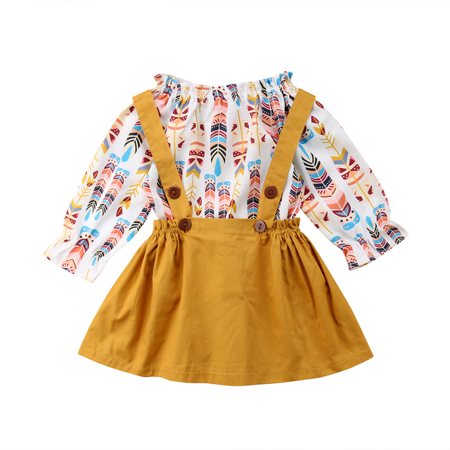 50913fb6d88 Infant Kids Baby Girls Long Sleeve Feather Tops+Suspender Skirt Dress  Overalls Outfits Set