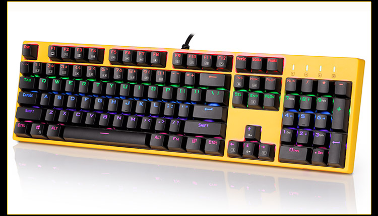 Mechanical Gaming keyboard using Outemu mx pbt doubleshot keycaps 9 Colour LED Backlit 104 Keys X8100 Bumblebee mechanical gaming keyboard using cherry mx pbt doubleshot keycaps 9 colour led backlit 104 keys blue switch x8100