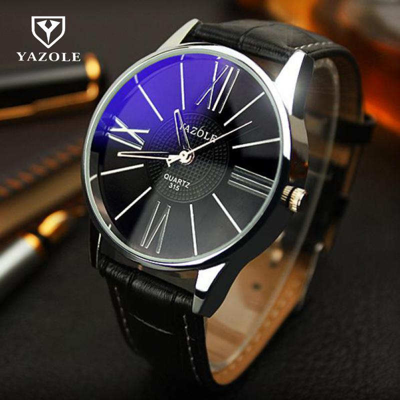 цены Luxury YAZOLE Leather Watches Men Waterproof Fashion Casual Sports Quartz Watch Dress Business Wrist Watch Hour for Men Male