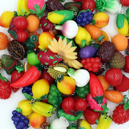 50pcs/lot Mix Styles Resin Fruits and vegetables Pendants & s