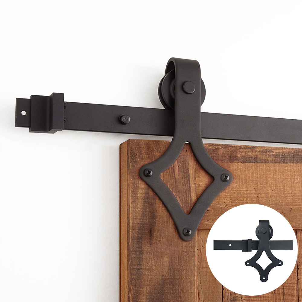 4.9FT/6FT/6.6FT Black Rustic Carbon Steel Rhombus Sliding Barn Door Hardware For Sliding Door