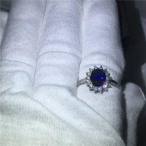 Image 5 - Vecalon güzel takı 100% gerçek 925 ayar gümüş yüzük 5A mavi zirkon Cz Diana nişan düğün Band yüzük kadınlar için gelin