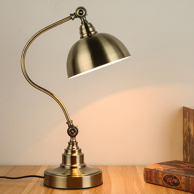 Library Art Deco Bronze Table Lamp Led Work Reading Light Study Room Class Desk  Lamp Vintage