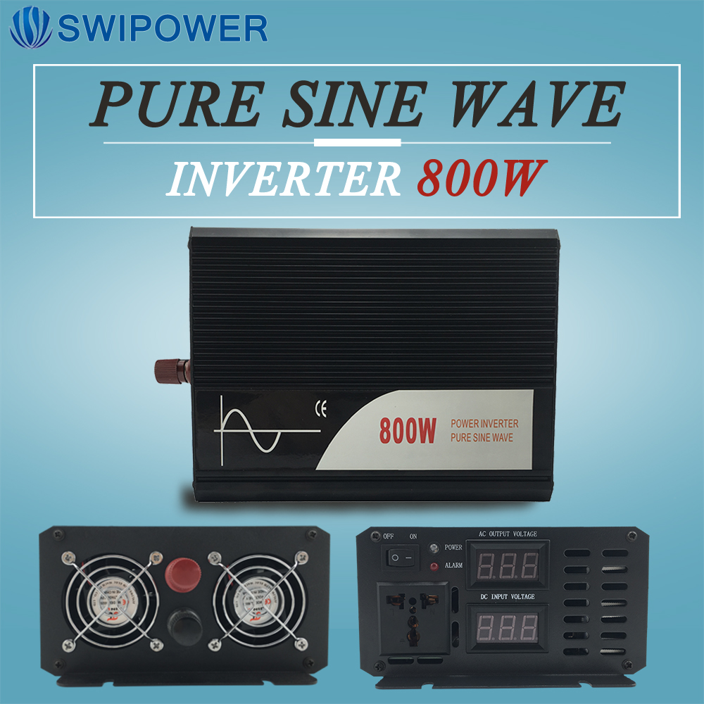 800W Onda Sinusoidale Pura Solar Power Inverter DC 12V 24V 48V A 110V AC 220V