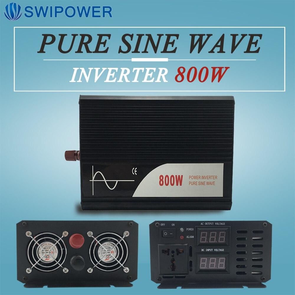 800W Pure Sinus Solar Power Inverter DC 12V 24V 48V Naar AC 110V 220V