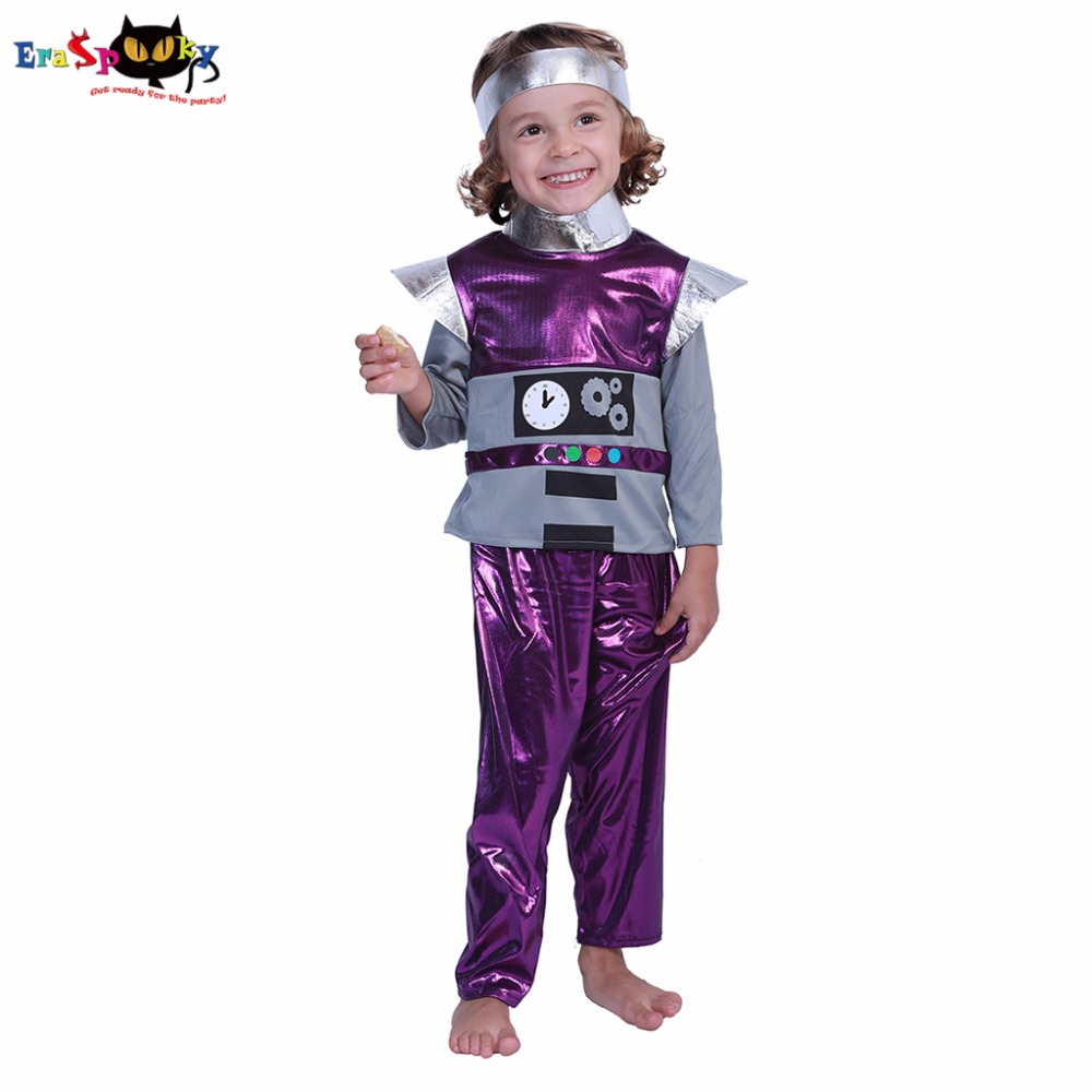 Eraspooky Toddler Astronaut  Halloween Costume For KidsRetro Robot Costume Boy Spaceman Costumes Child Robot Cosplay Carnival