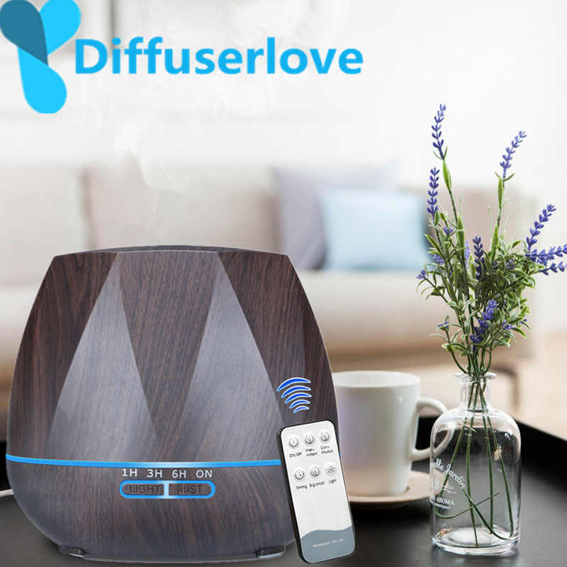 Diffuserlove 500 ML รีโมทคอนโทรล Air Humidifier Essential Oil Diffuser Humidificador Mist Maker LED Aroma Diffusor น้ำมันหอมระเหย