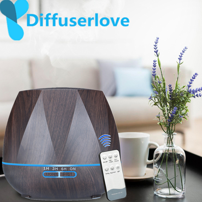 Diffuserlove 500ML Remote Control Air Humidifier Essential Oil Diffuser Humidificador Mist Maker LED Aroma Diffusor Aromatherapy Полка