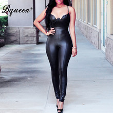 Bqueen 2019 New Fashion Women's Bodycon PU Jumpsuit With Zipper Sexy Bra Backless Sleeveless Long Pants(China)