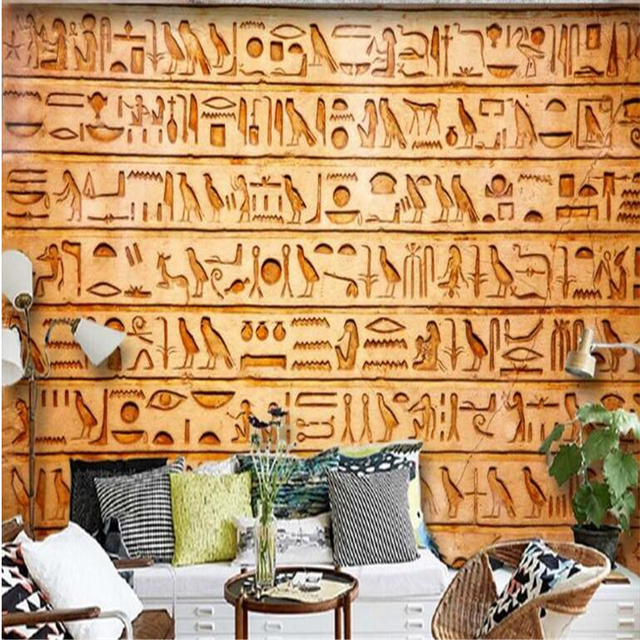 beibehang Custom Nonwovens Wallpapers HD Egyptian Relief Mural Birds ...