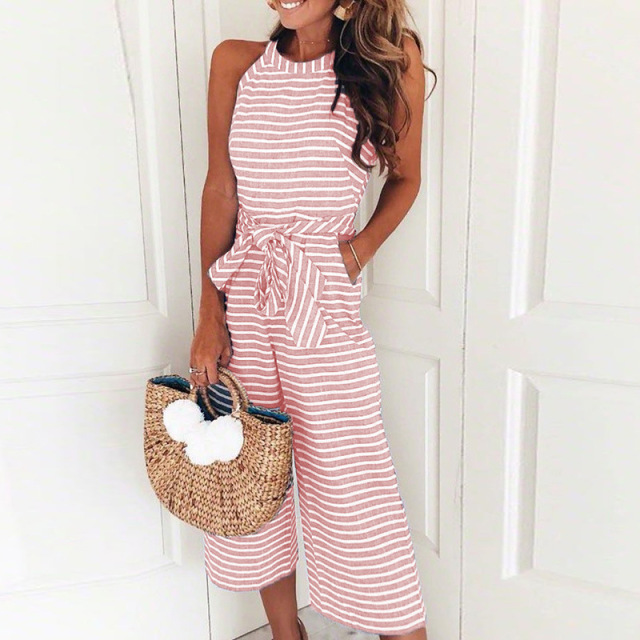 Wide Leg Pants Summer Black Pink Overalls Female 2020