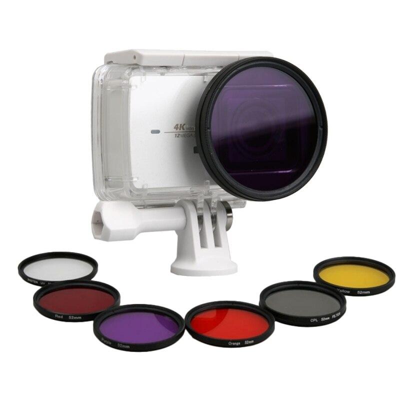 Xiaomi Xiaoyi Filter Lens Yi II 4K Sport Action Camera Professional 52mm Lens Filter CPL UV Filters Waterproof Case Ring 7pc\Set
