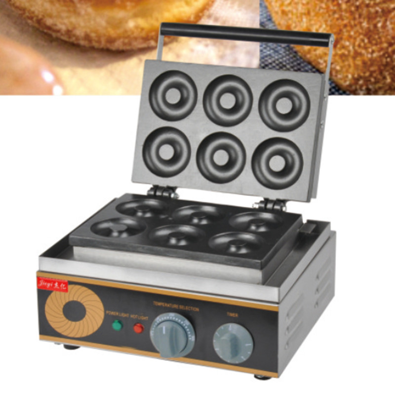 220V/1500W Non-Stick Commercial Electric Sweet Donut Machine 6pcs Donut Fryer Waffle Maker Commercial Cake Machine Free Shipping automatic commercial plum donut baking machine cake sweet donuts maker