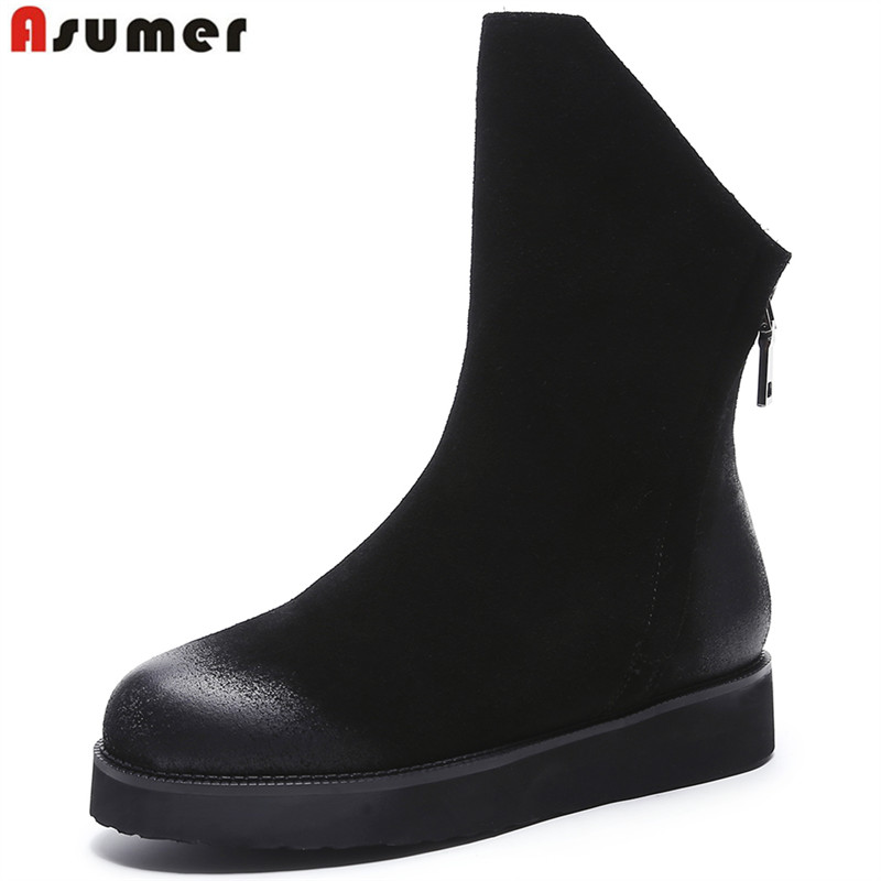 ASUMER 2018 new cow leather boots black platform women ankle boots rond toe zip thick fur warm winter snow boots ladies shoes стоимость