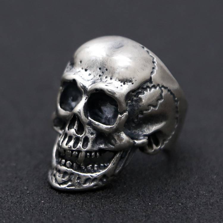 S925 sterling silver skull ring men's index finger ring vintage Thai silver old adjustable size ring цена