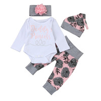 Autumn Spring Little Sister Baby Girl Clothes Letter Romper And Printing Pants And Hat And Flower