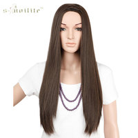 25 Long Straight Half Wig Synthetic Heat Resistant Natural Clip In Hairpiece Elegant Ladies 3 4