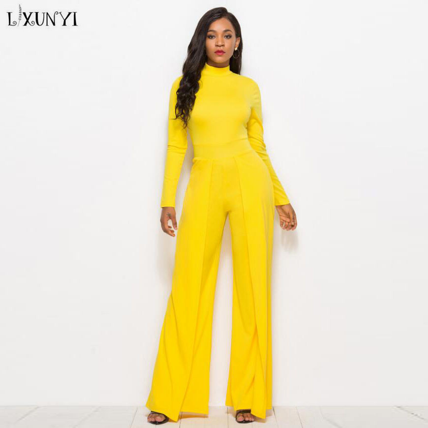 LXUNYI Europe Ladies jumpsuits in Rompers Elegant Wide Leg Fashion Long Sleeve Romper ropa verano mujer Sexy jumpsuit Women 2018