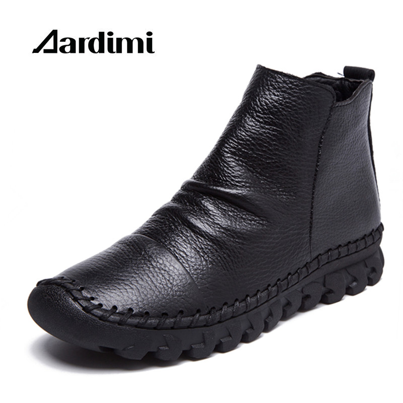 AARDIMI Designer Genuine Leather Women Boots  Autumn/Winter Solid Women Martins Boots Casual Winter Shoes Flat Boots Woman rubber cement euro winter shoes woman sleeve side zip chains riding genuine leather boots women solid color cowhide flat with